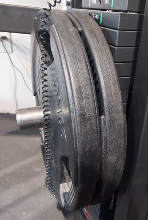 Stacked Weight Pin without Collar - Plates NOT Sliding with 90 lbs on