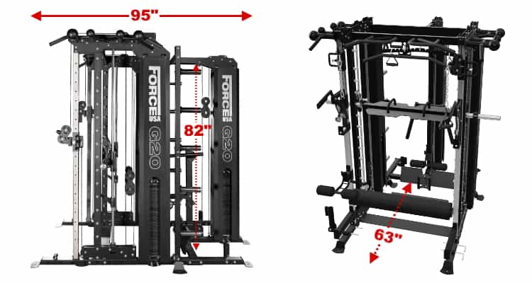 Force USA G20 Dimensions - Base Unit + Lat Row Station Upgrade
