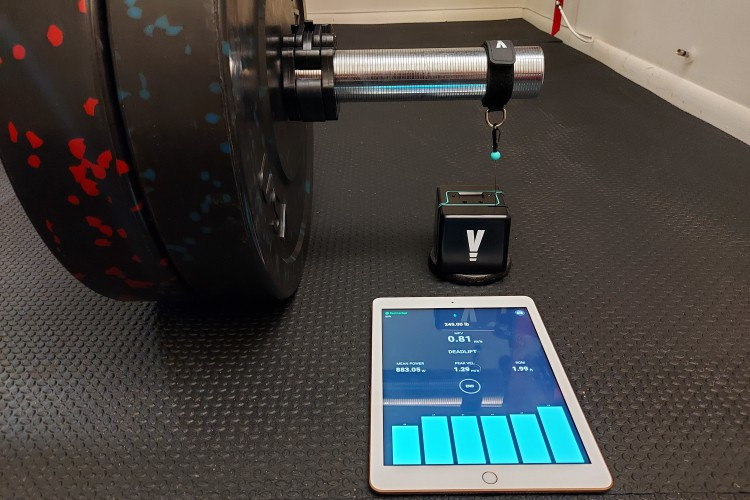 VITRUVE VBT Device Connected to Barbell